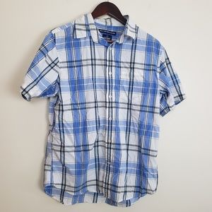 Old Navy Blue and White Plaid Button Down Shirt